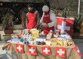 Švýcarský stánek se sýry a čokoládou